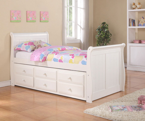Sleigh Twin Size Captain S Trundle Bed White Donco Trading Dt125w Cl