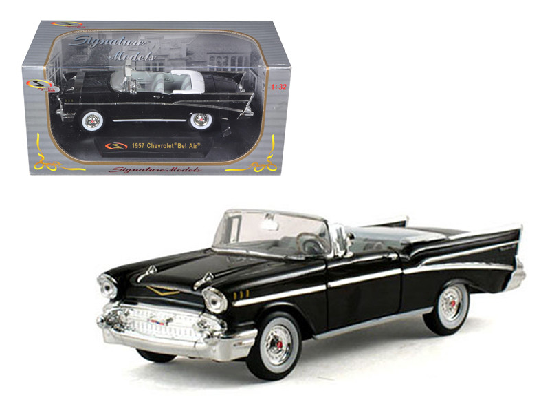 Diecast Model Cars wholesale toys dropshipper drop shipping 1957     1957 Chevrolet Bel Air Convertible Black 1 32 Diecast Model Car Signature  Models 32430
