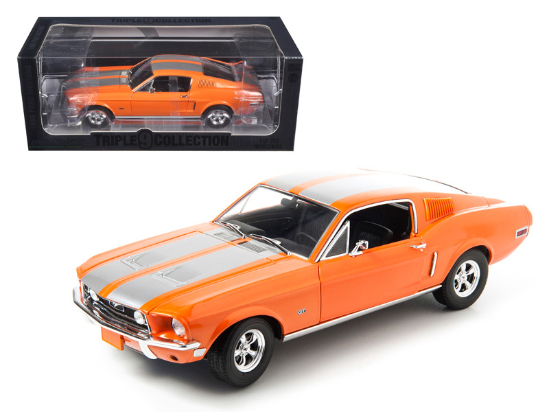1968 Ford Mustang GT Fastback Orange with Silver Stripes Limited Edition 1  of 999 Produced Worldwide 1 18 Diecast Model Car by Greenlight 1968 Ford Mustang GT Fastback Orange with Silver Stripes Limited Edition 1  of 999 Produced Worldwide