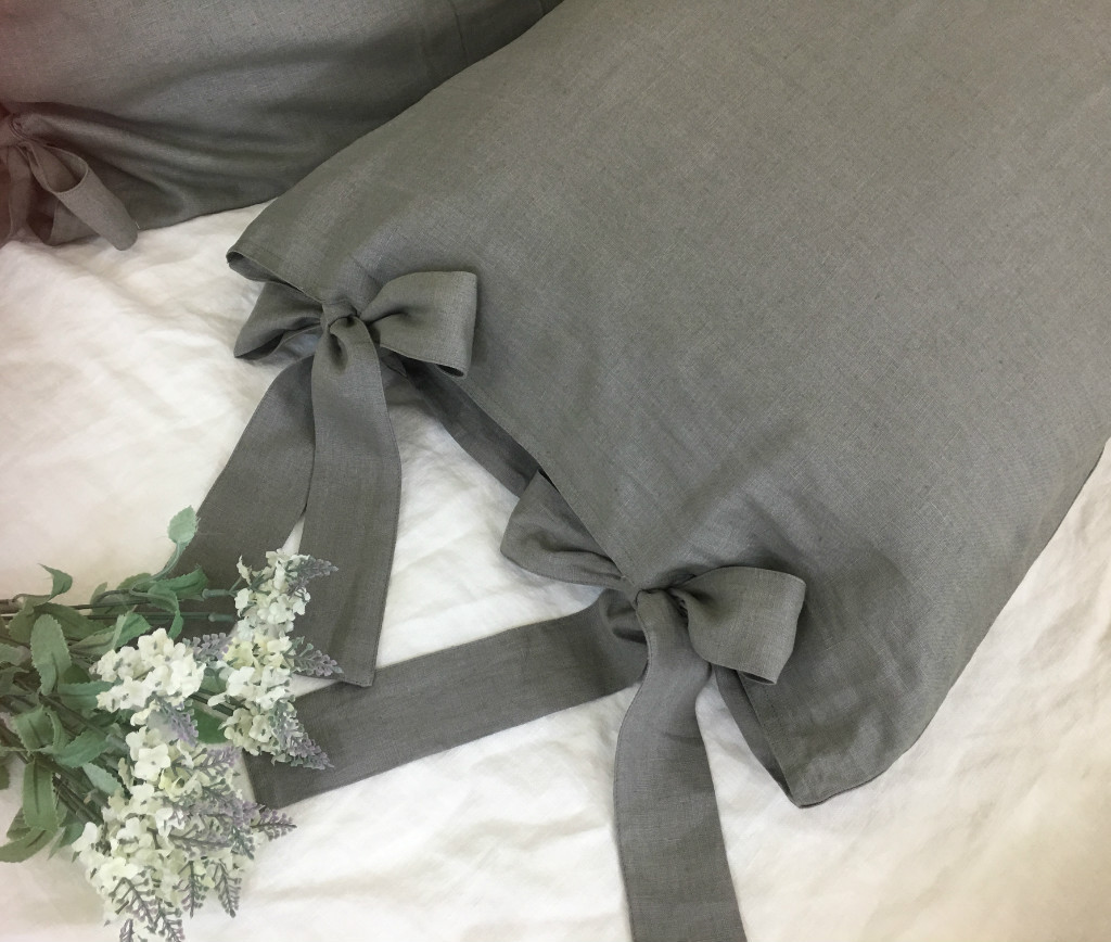 Medium Grey Linen Duvet Cover With Bow Ties Country Rustic