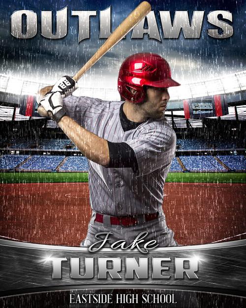 Baseball Poster Photo Template Rain Out Series