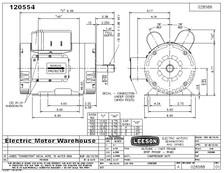 5 hp 3450 RPM 145T 230V Air Compressor Motor Leeson # 120554