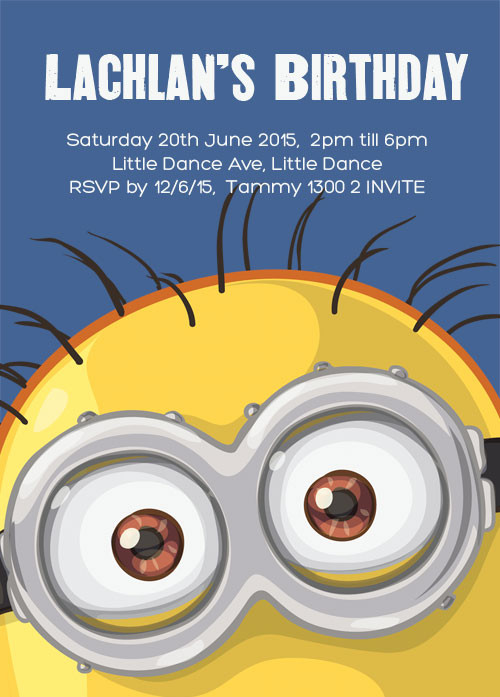 Minions inspired kids party invitation