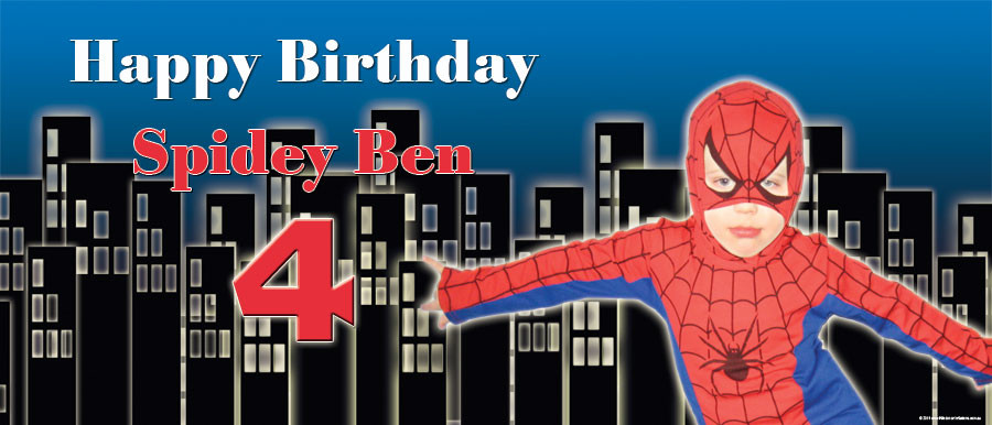 Spiderman boys birthday banner
