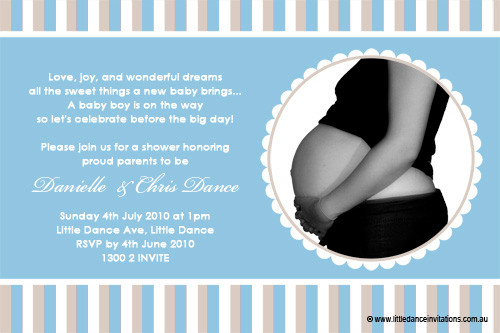Pregnant belly baby shower invitation personalised