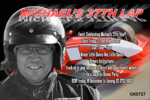 Personalised race car photo invitation