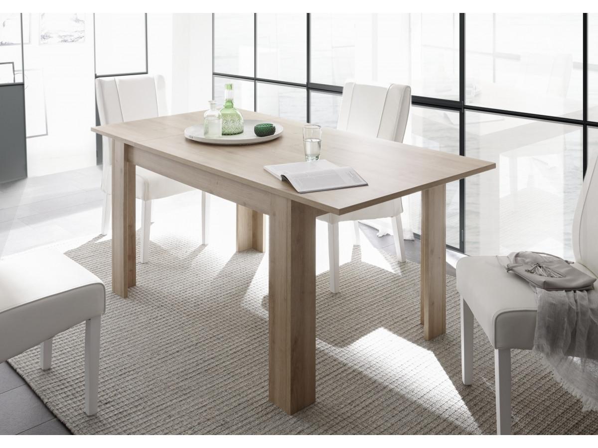 table avec rallonge incluse 137 185 cm giarre couleur chene noyer clair