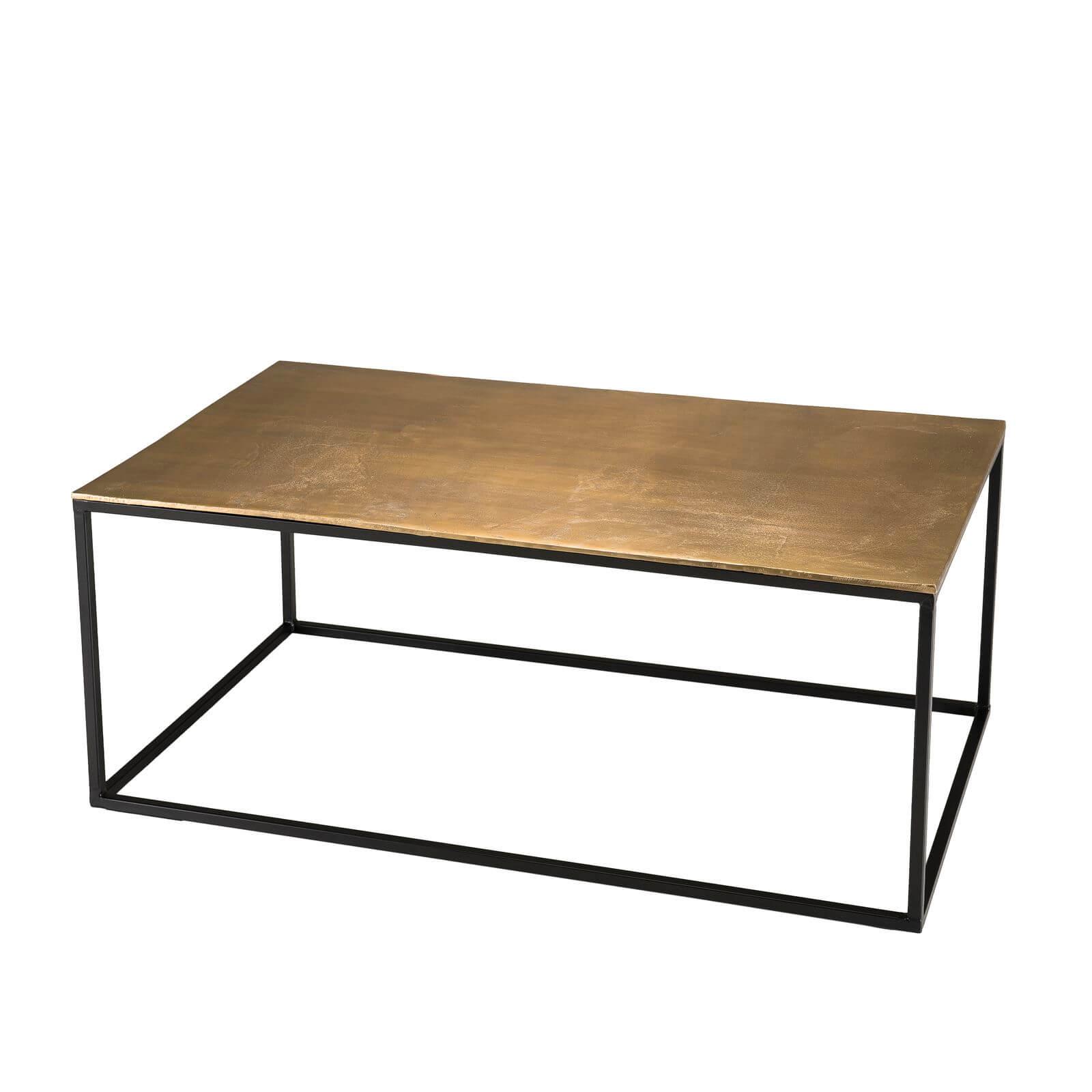 table basse rectangulaire 98x57cm aluminium dore darama bobochic
