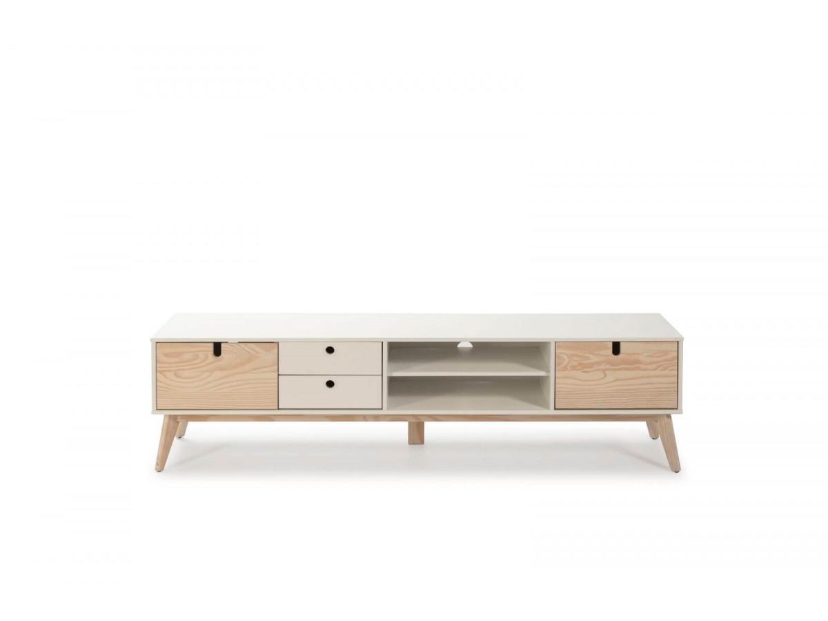 meuble tv 180 cm yugo blanc et bois