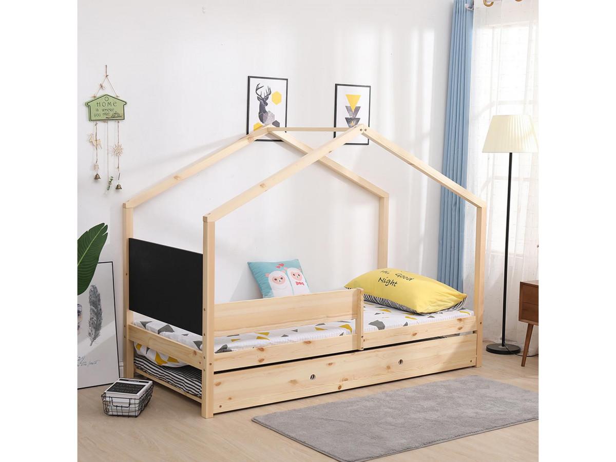 lit cabane 90x190 woody bois clair avec tableau ardoise