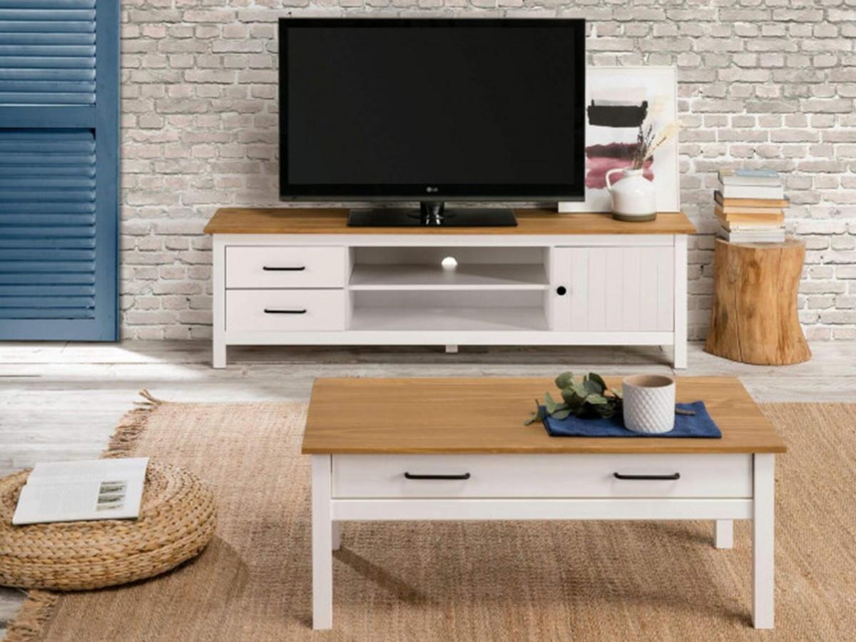 meuble tv 158 cm megane blanc et bois clair bobochic
