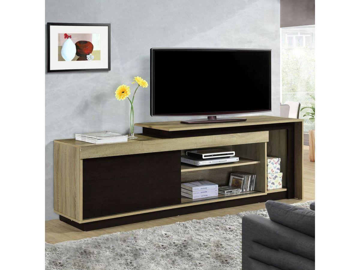 meuble tv 180 cm muna 1 porte plusieurs points de rangements