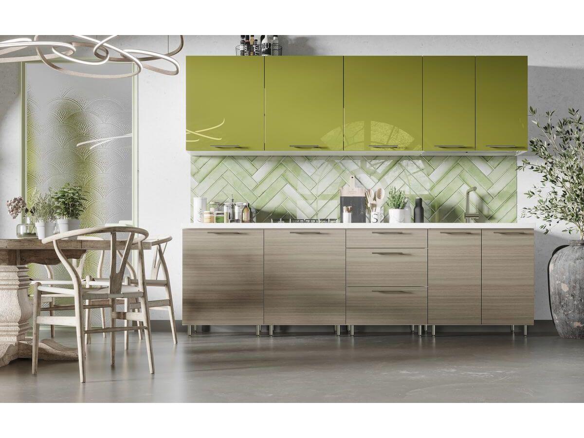 cuisine complete garance 2 60m vert brillant et bois beige