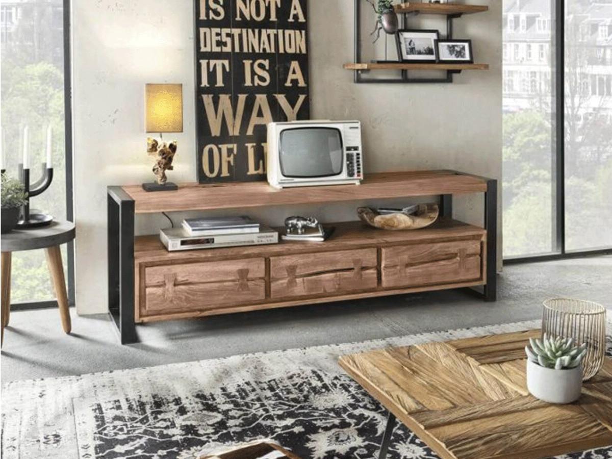 meuble tele 160 cm joutan bois massif et noir bobochic