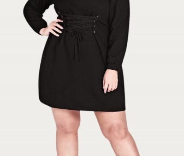 City Chic Corset Waist Sweater Dress