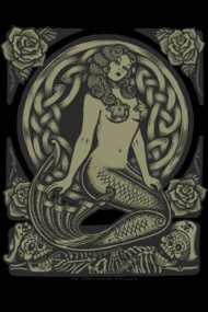 Mermaid Monochrome TSHIRT. Mermaid pin up and skulls with a little neotraditional tattoo, Mucha Art Nouveau, Celtic and Day of the Dead influence.
