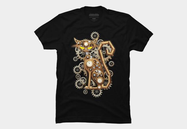 Steampunk Cat Vintage Copper Toy T Shirt By BluedarkArt Design By Humans