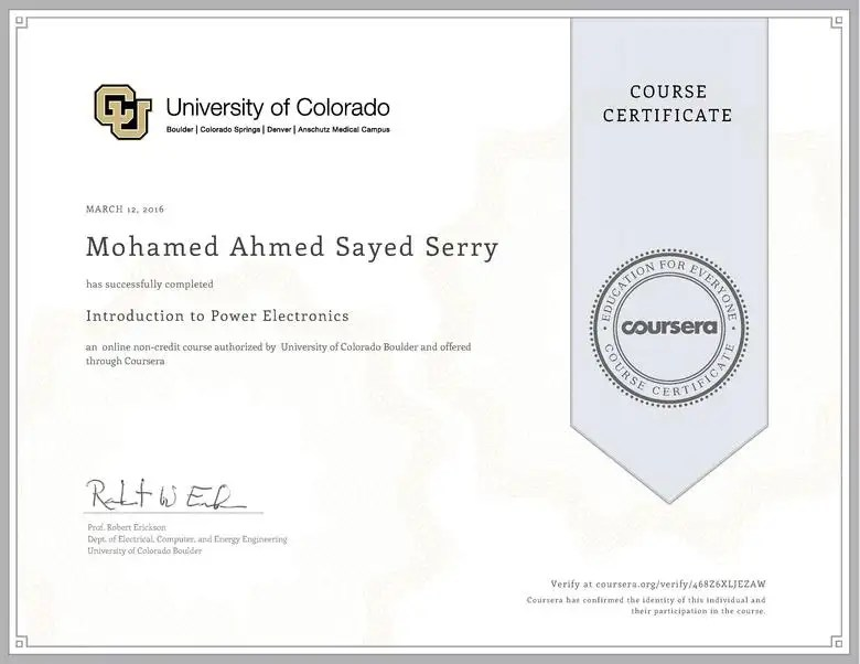 Introduction To Power Electronics Certificate Freelancer