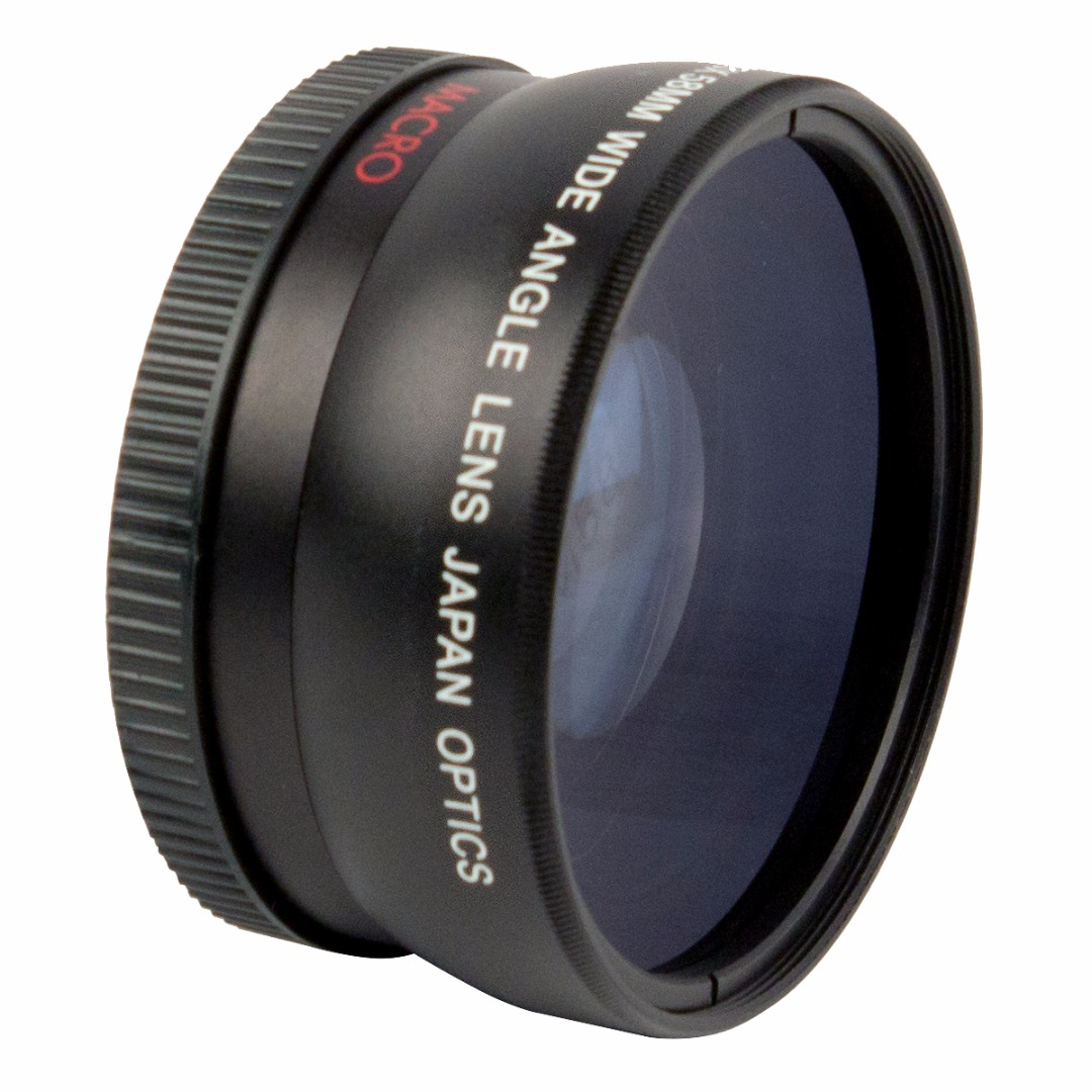 """This Focus Camera conversion lens can be fitted to the front of any DSLR or camcorder lens that that has 52mm filter threading to transform it into a wide angle lens. The 0.43x wide angle design dramatically increases your field of view\, allowing you to fit more of a picturesque landscape or large groups of people into a shot. The optical surfaces are treated with a multi-coating that increases light transmission for brighter\, clearer photographs\, and the lens body's steel barrel construction is sturdy and reliable. This conversion lens is high-speed and infrared compatible so it can be used during the day as well as at night or in low light conditions. The front of the lens has 62mm threading so filters can be attached\, as well. There's a macro lens that can be detached from the main body to take extreme close-up shots as well. Just unscrew the section of the body that says """"Macro"""" from the main body and attach it to the camera's primary lens to use it."""