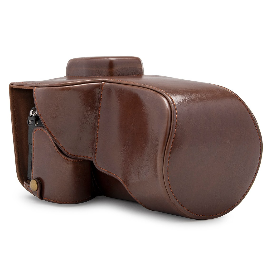 This Sony leather camera case is a handsome\, convenient case for your Sony A7 camera. It's a full case that can be unbuttoned and turned into a half-case\, so you'll be able to take pictures with the case on.The stylish case is made of rugged leather\, and it will protect your camera from bruising\, scratches\, and dust. You can even mount the camera to a standard tripod and remove the battery without removing the camera from its case.