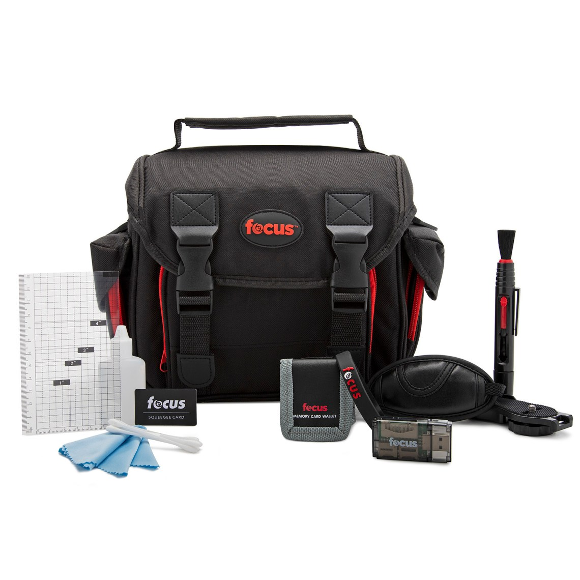 An accessory bundle that's great for any photographer. From the beginner to professional\, you'll find a host of high-quality\, essential camera accessories.Focus Deluxe SLR Soft Shell Camera Gadget Bag.Focus 5 Piece Digital Camera Accessory Kit (Optics Cleaning Solution\, Microfiber Cloth\,Memory Card Wallet\, LCD Screen Protectors\,Squeegee).Focus Lens Cleaning Pen.Focus All In One High Speed USB 2.0 Card Reader.Focus Professional Wrist Grip Strap for Digital & Film SLR Cameras.Focus Silicone Band for Zoom Lenses.