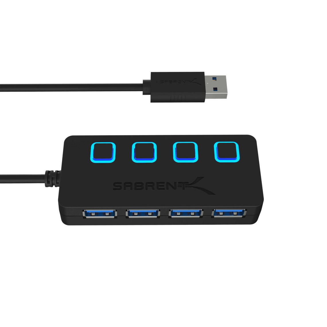 Add up to 4 devices quickly and easily with the Sabrent 4-Port USB 3.0 Hub. The thin\, lightweight design makes this hub the perfect travel companion to expand one USB 3.0 port into four. Especially great for notebooks which come with only a few ports in an era when you need to attach many USB devices at once\, such as a printer\, card reader\, cell phone\, iPod\, thumb drive\, mouse\, keyboard\, or an external hard drive.Plus\, each port has its own separate power switch with blue LED so you can control each port independently. Its small and elegant design has been configured to be as thin as possible so as to not take up space as you travel. The Sabrent hub is also backward compatible with your older devices\, so you can still use it in conjunction with USB 2.0 devices.