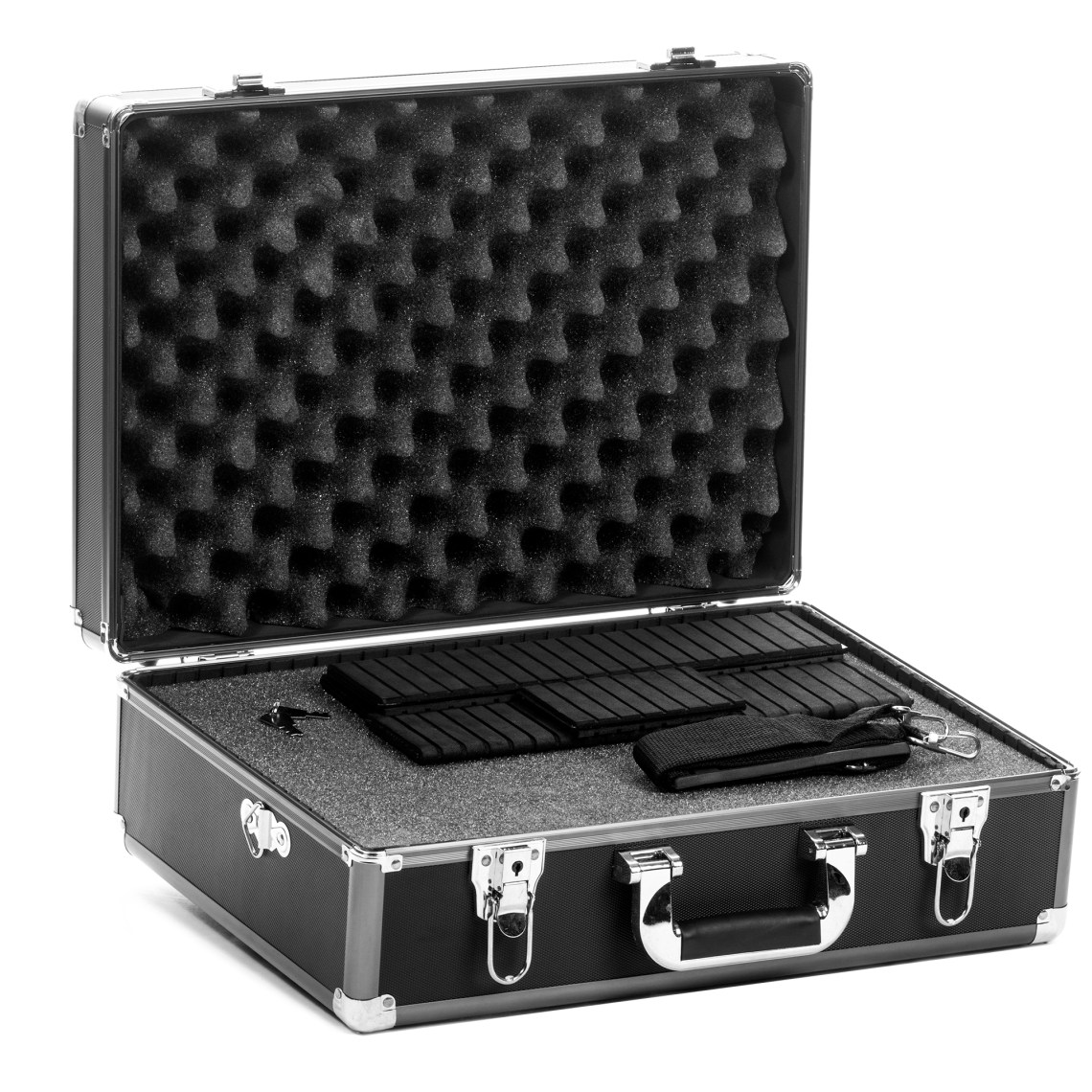 Focus knows that protecting your camera\, lenses and other gear is essential. Especially if you're going to travel with it from shoot to shoot. That's why we created this large equipment case that is perfect for everyone. How do we accommodate for the myriad of different kits out there? Simple\, we made this case fully customizable!Customized & Personalized FitThe interior foam compartment is expertly sliced into small squares that are easily removed. Space out your gear as you see fit\, remove the necessary foam material\, and you're left with a custom fit for every piece of equipment. In addition to the foam\, the entire interior wall structure has built-in slots. These are for the included hard dividers\, giving you even more variations to choose from. You get 2 long dividers\, 1 medium and 2 short.Strength & ProtectionThis hard case is built to take some the bangs and bumps of everyday life while protecting your valuable gear. The aluminum alloy frame features high impact-resistant ABS plastic side panels\, and the corners are steel reinforced. The interior of the lid features a pointed foam panel for soft yet sturdy protection for the exposed contents inside. Finally\, dual locking metal latches keep the case closed during transport.Features & SpecificationsAluminum Alloy Frame.High Impact-Resistant ABS Plastic Side Panels.Steel Corner Reinforcements.Dual Locking Metal Latches.Customizable Foam Interior.Slotted Interior Walls w/ Dividers.2 Long Dividers - 12 1/2\