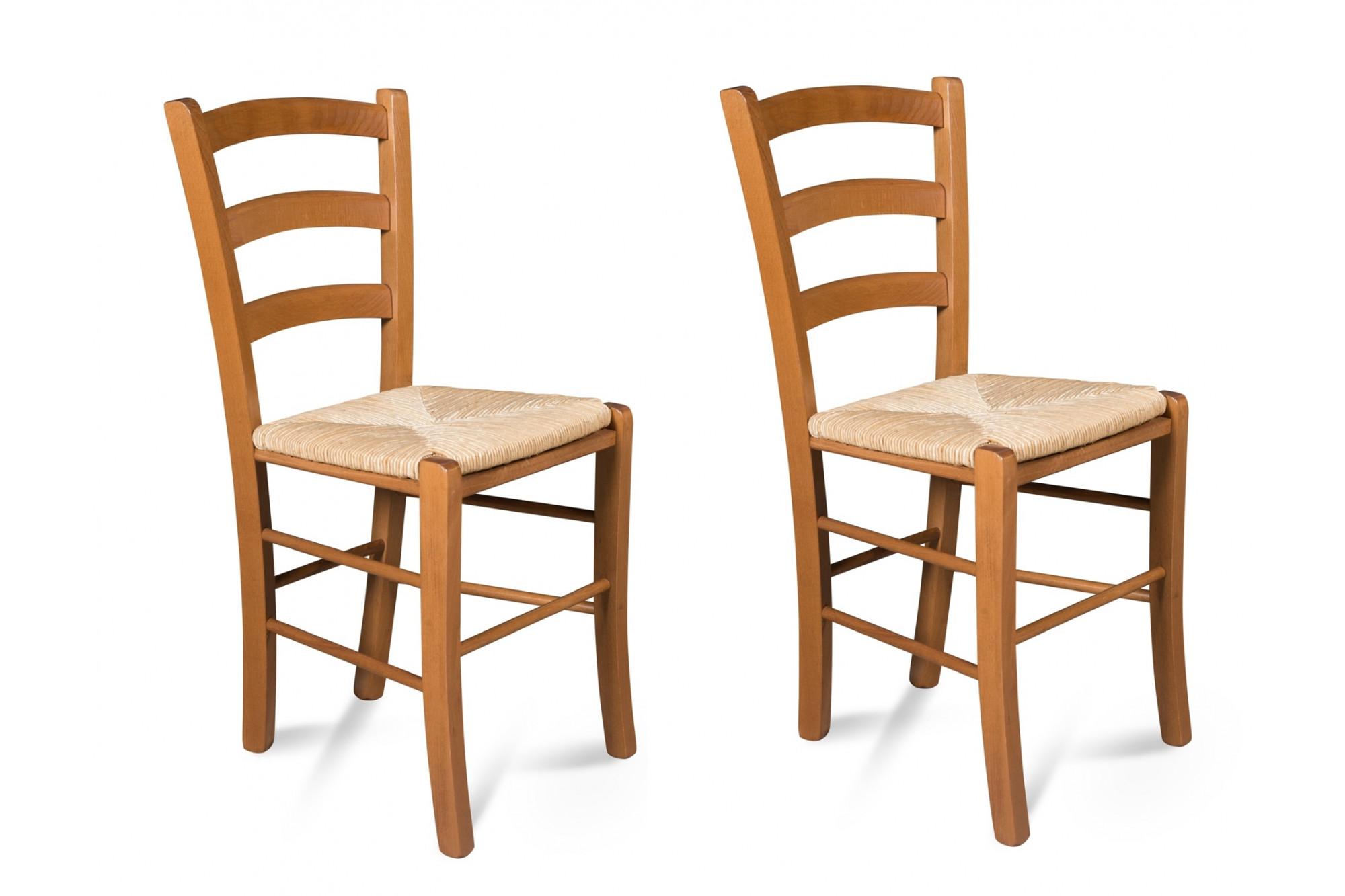 chaise assise paille et structure bois tina lot de 2 hellin
