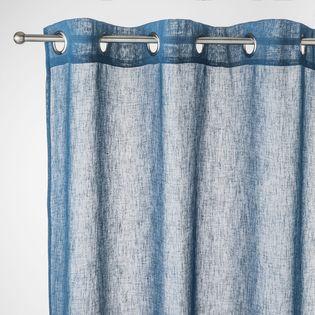voilage bleu paon effet lin caraz 140x240 cm