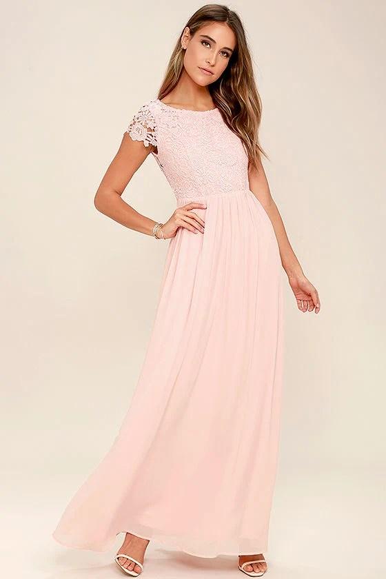 Lovely Blush Pink Dress Lace Dress Maxi Dress 8600