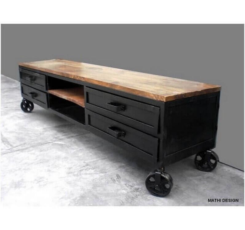 meuble tv acier bois industriel