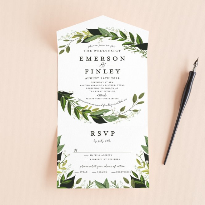 Vines Of Green Customizable All In One Wedding Invitations By Susan Moyal