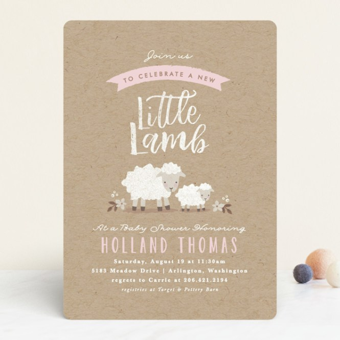 Little Lamb Customizable Baby Shower Invitations In Pink By Karidy Walker