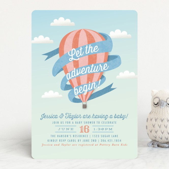 Balloon Adventure Customizable Baby Shower Invitations In Pink Or Blue By Karidy Walker
