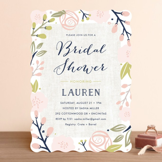 Spring Shower Customizable Bridal Invitations In Pink By Carolyn Maclaren