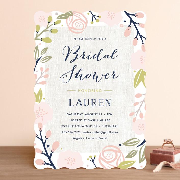 Spring Shower Fl Botanical Bridal Invitations In Blush By Carolyn Maclaren