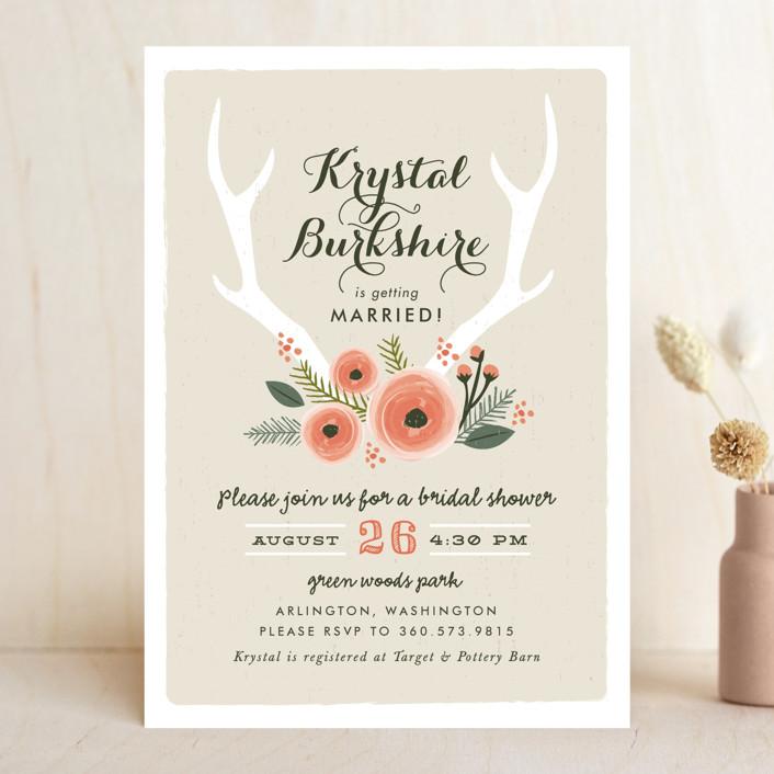 Woodland Fairytale Rustic Fl Botanical Bridal Shower Invitations In Dove Grey