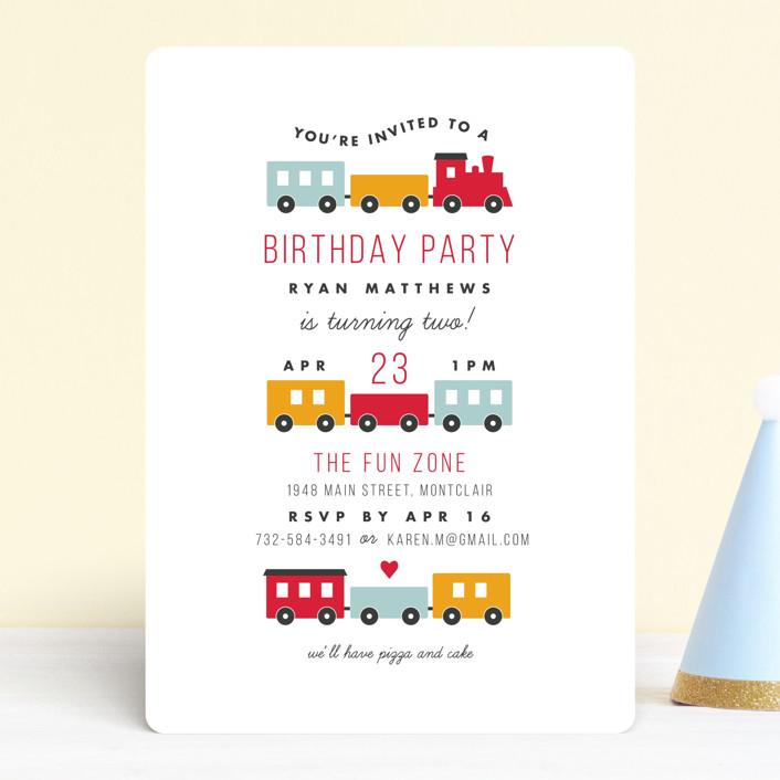 birthday train customizable children s birthday party invitations in red by sandra picco design