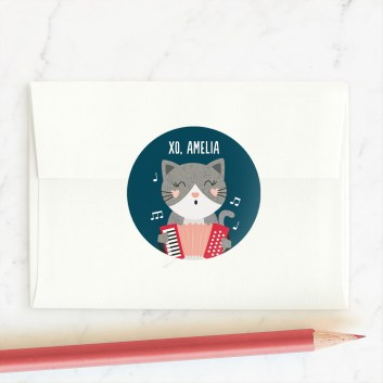 """""""Accordian To Me"""" - Custom Stickers in Navy by Erica Krystek. - GIft Guide for people who love stationery"""
