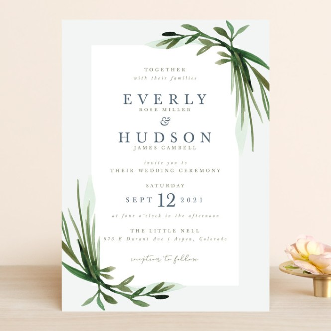 Botanical Frame Customizable Wedding Invitations In Green By Kate Ahn