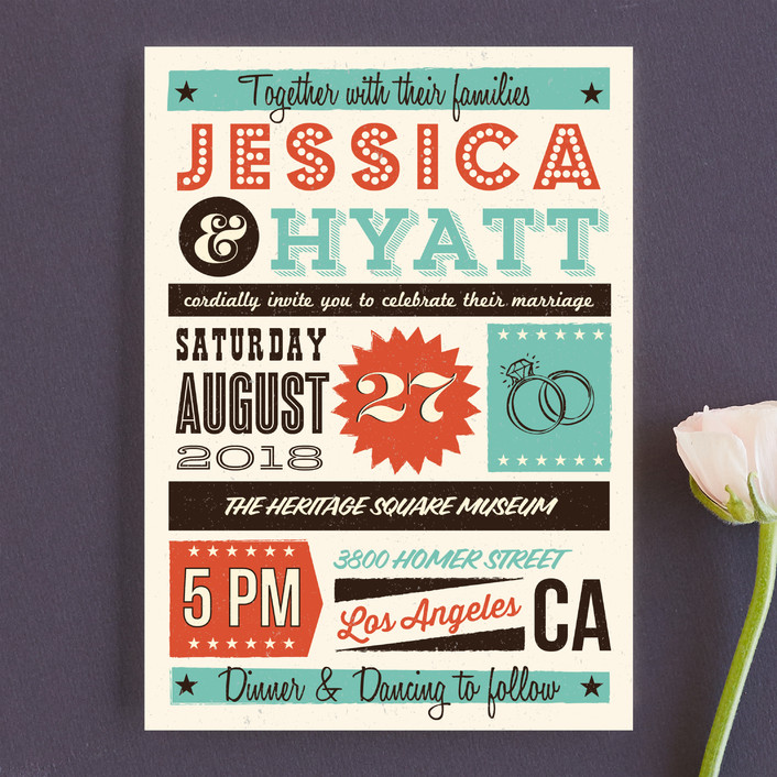 Exceptional MidCentury Poster Board Wedding Invitations