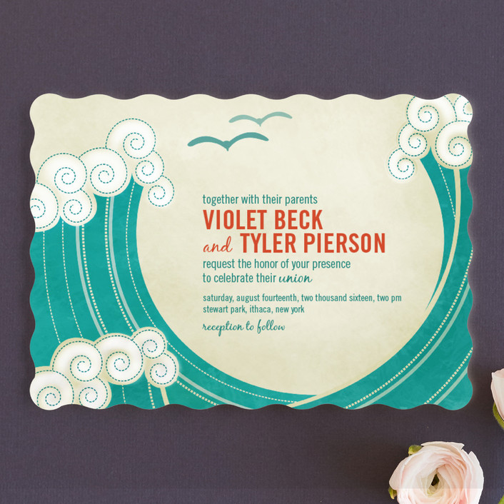Block Print Waves Wedding Invitations In Teal By Ble