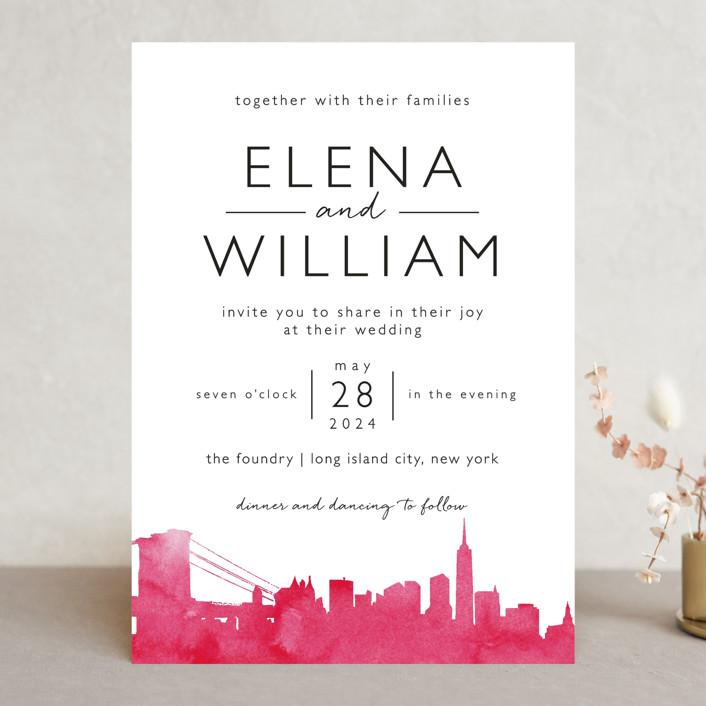 Skyline New York Modern Wedding Invitations In Magenta By Laura Condouris