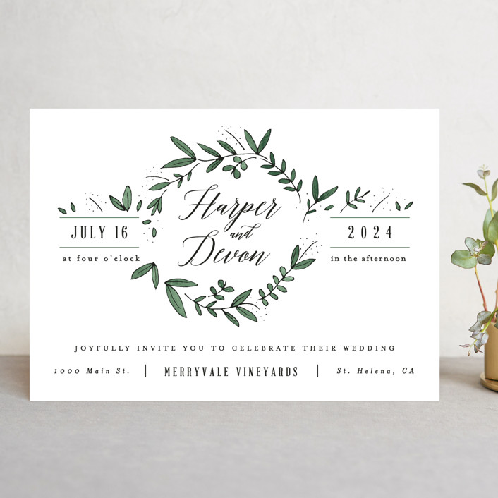 Floral Wreath Wedding Invitations By Kelly Schmidt Minted