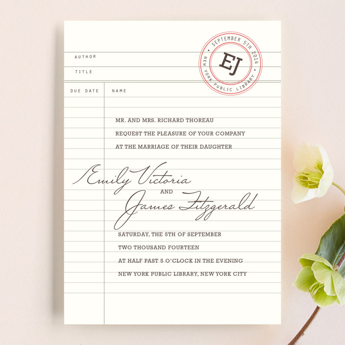 Library Wedding Invitations