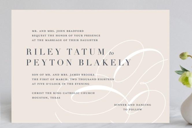 Monogram Wedding Invitations With Polka Dots