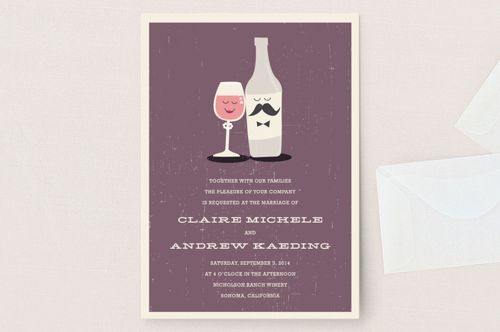 Wedding invitation wording that wont make you barf offbeat bride little wine charmers wedding invitations stopboris Gallery