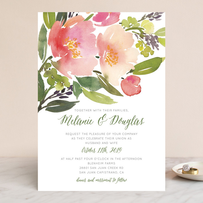 Watercolor Fl Wedding Invitations In Olive By Yao Cheng