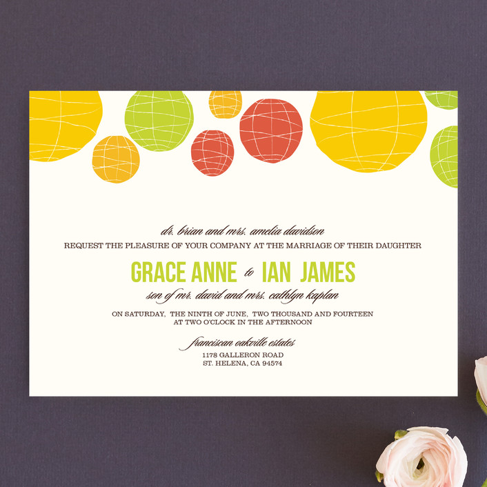 Summer Lanterns Bohemian Wedding Invitations In Key Lime By Design Lotus