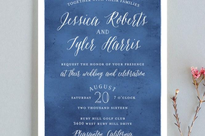 Mordern Royal Blue Wedding Invitation